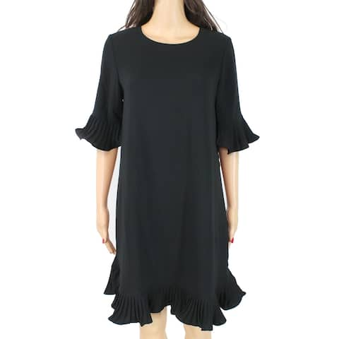 Alfani Women's Dress Black Size 14 Sheath Pleated Flounce Sleeve