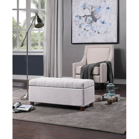 Upholstered Tufted Linen Fabric Storage Bench