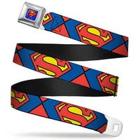 Superman Full Color Blue Superman Shield Close Up Blue Red Yellow Webbing Seatbelt Belt