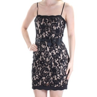 Womens Black Spaghetti Strap Above The Knee Cocktail Dress Size: 5