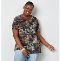 AVENUE Women's  Tropical Leaf Print V-Neck Burnout Tee - Black