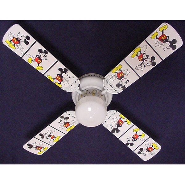Disney's White Mickey Mouse Print Blades 42in Ceiling Fan Light Kit - Multi