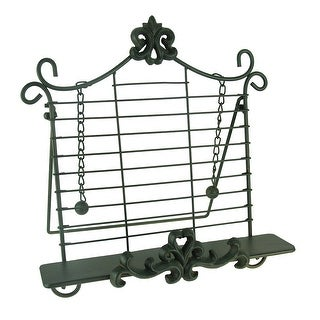 Rustic Metal Fleur De Lis Cookbook Holder Easel Stand - 14 X 13 X 6 inches