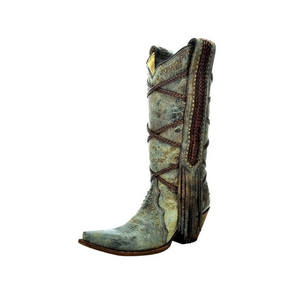 Corral Western Boots Womens Tall Braiding Fringe Blue Brown