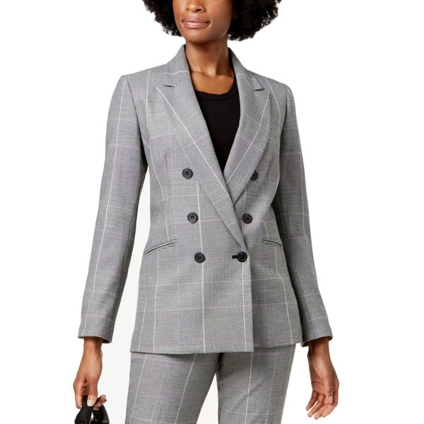 Nine West Women's Suit Blazer Gray Size 12 Career Printed Plaid Jacket. Opens flyout.