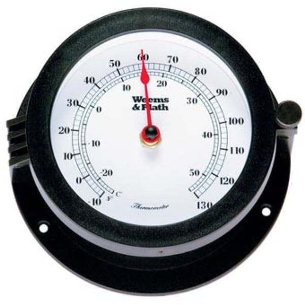 """6"""" Black and White Round Thermometer with Scales - N/A"""