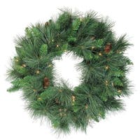 "24"" Pre-Lit White Valley Pine Artificial Christmas Wreath - Clear Lights - green"