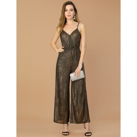 Allegra K Women's Metallic Elastic Waist Knit Maxi Jumpsuit - Black