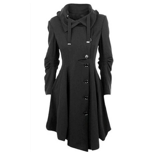 Womens Modern Button Closure Asymmetrical Winter Long Trench Jackets Coat