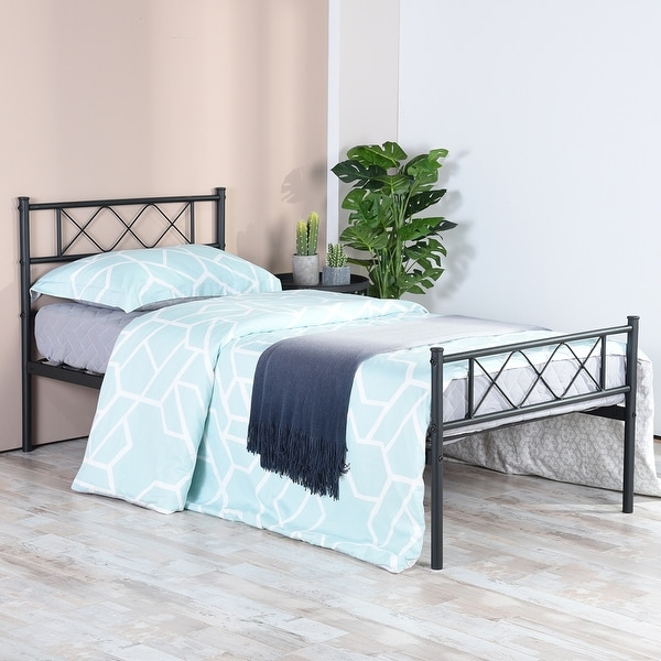 Easy-to-assemble Metal Bed Frame Platform Mattress Foundation with Headboard ,Under-bed Storage,Multiple colors.