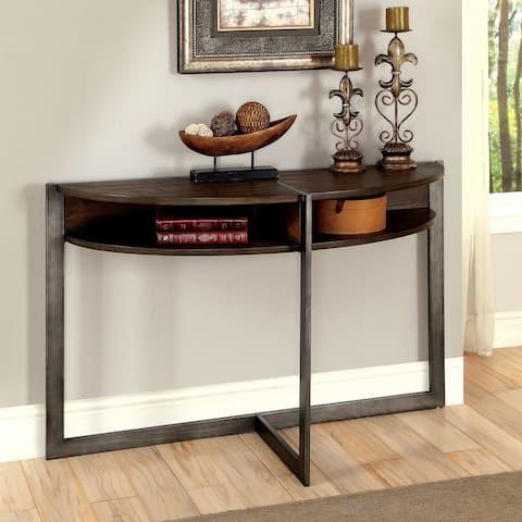 Furniture of America Quar Rustic Oak Shelf Half-Moon Sofa Table