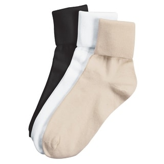 Women's Buster Brown Cotton Fold Over Vintage Socks - Pack of 3 - M