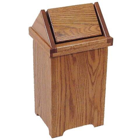 Oak Flip Top Trash Bin