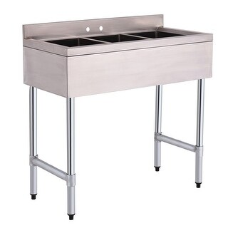 Costway 3 Compartment Stainless Steel Kitchen Commercial Sink Heavy Duty - Sliver