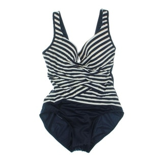 Miraclesuit Womens Escape Layered Striped One-Piece Swimsuit - 16