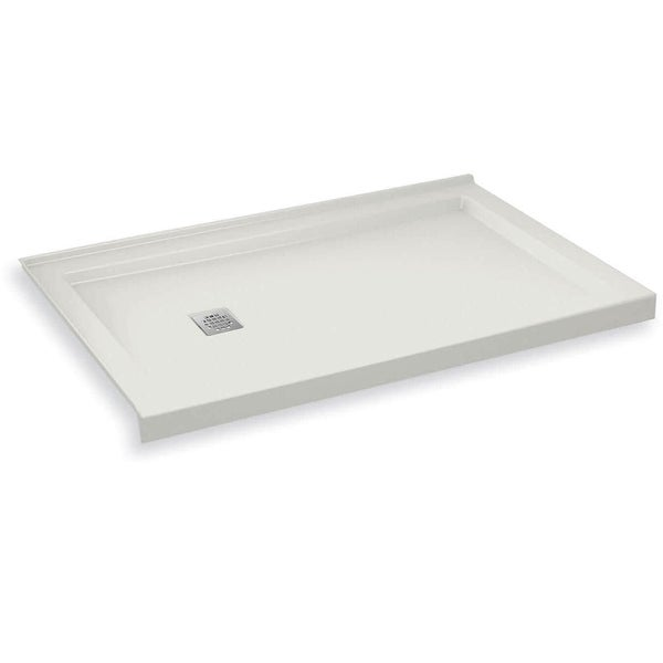 """Maax 420004-L-502 B3Square 59-7/8"""" x 29-7/8"""" Rectangular Shower Base with Double Threshold and Left Drain - White"""