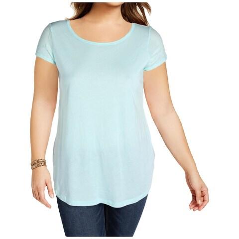Lauren Ralph Lauren Womens Plus Pullover Top Modal Blend Cut-Out