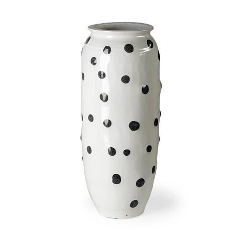 Polka Large 32H White Ceramic Polka Dot Vase