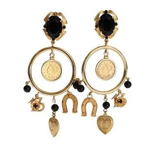Dolce & Gabbana Gold Brass Sicily Charms Earrings