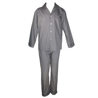 Majestic International Men's Cotton Pajama Set with Travel Bag - lead grey