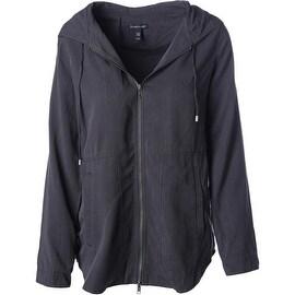 Eileen Fisher Womens Tencel Hooded Basic Jacket