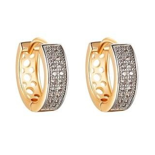 14k Gold Tone Hoop Earrings Lab Diamonds Pave Set Mens Womens 15mm Unique