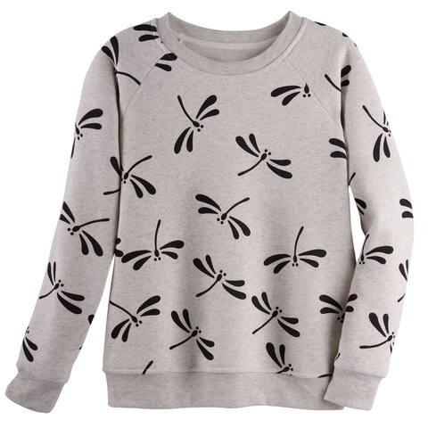 LA Soul Women's Dragonflies Sweatshirt - Raglan Sleeve Sweater, Black or Gray