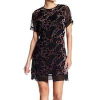 Superfoxx Black Womens Size Medium M Floral Embroidered Shift Dress