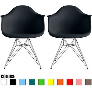 2xhome- Set Of 2 - Plastic Chair Armchair With Arm Colors Wire Chrome Legs Dining