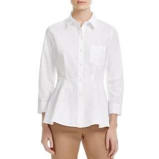 Theory Womens Pearce Button-Down Top Peplum Bracelet Sleeves