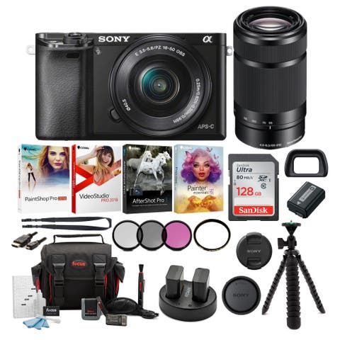Sony a6000 Mirrorless Camera (Black) w/ 16-50mm & 55-210mm Lens Bundle