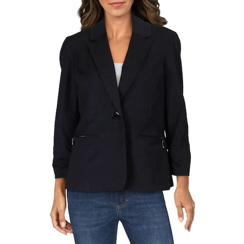 Kasper Womens Blazer Ruched One-Button - Charcoal