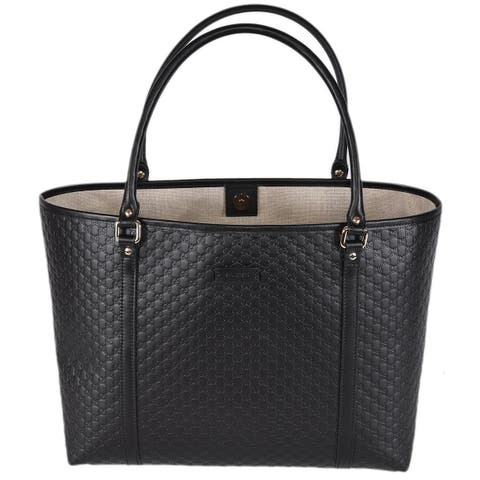Gucci 449647 Black Leather Micro GG Guccissima Joy Purse Handbag Tote