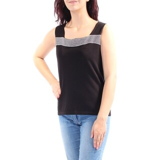 JONES NY $69 Womens New 1267 Black Striped Square Neck Sleeveless Vest Top M B+B