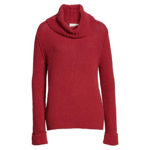 Caslon Womens Sweater Rumba Red Size Medium M Cowl Neck Cuff Sleeve