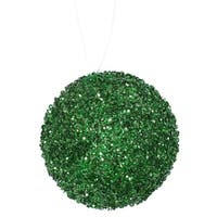"4ct Emerald Green Sequin and Glitter Drenched Christmas Ball Ornaments 4"" (100mm)"