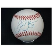 Signed Thomas Frank American League Baseball in Blue Ink on the Sweet Spot Light StainingToning Li