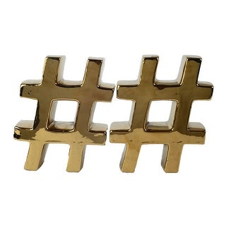 Pair of Urban Vogue Metallic Gold Finish Hashtag Symbol Bookends