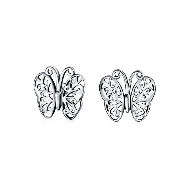 d72c6b1d71c1a Tiny Garden Insect Filigree Butterfly Stud Earrings For Women For Teen 925  Sterling Silver