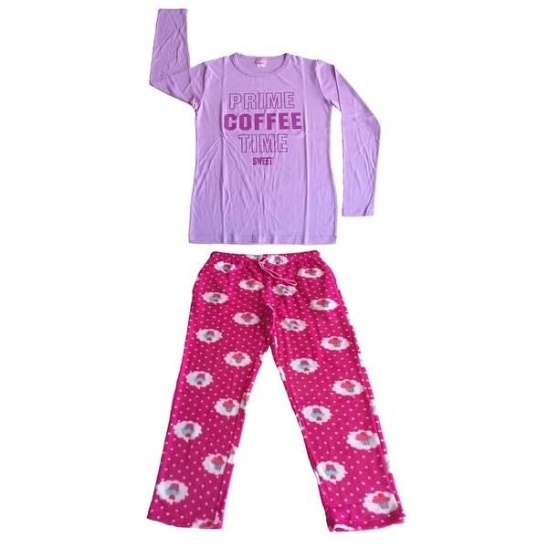 Women Cotton Top & Fleece Lined Pants Pajamas Set (Lavender)
