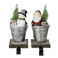 """Set of 2 Santa Claus and Snowman Christmas Stocking Holders 8"""" - silver"""