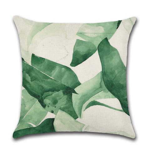 """Tropical leaves in watercolor print decor pillow cover for couch or sofa 18"""" x 18"""""""