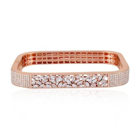 Gold 18Kt Diamond Designer Bangle Baguette Jewelry With Free Jewelry Box