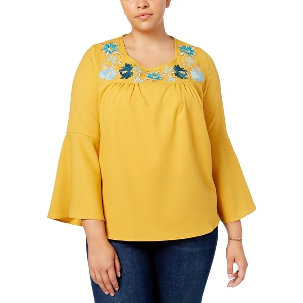 NY Collection Womens Plus Dress Top Bell Sleeve Floral