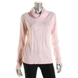 Karen Scott Womens Petites Knit Cowl Neck Pullover Sweater