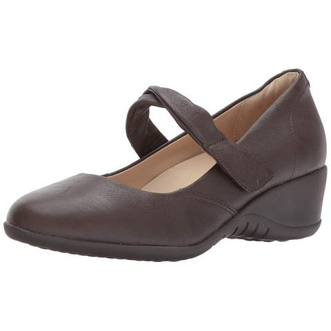 e1771caa504 Hush Puppies Womens Jaxine Odell Leather Round Toe Ankle Strap Mary Jane  Pumps