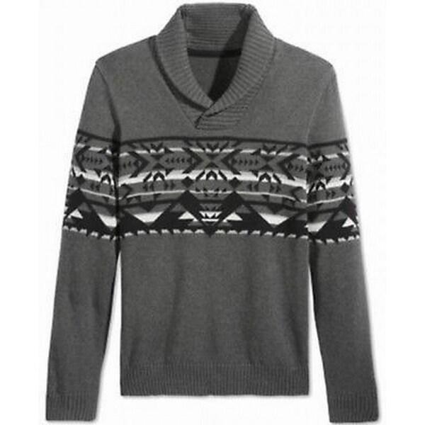 American Rag NEW Gray Mens Size 2XL Shawl Collar Fair Isle Sweater ...