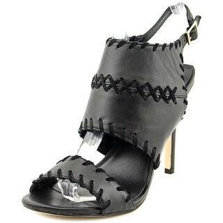 Nicole Miller Percy Women Open-Toe Leather Black Slingback Heel