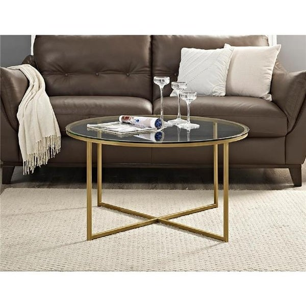 Walker Edison 36 In Coffee Table With X Base Gl