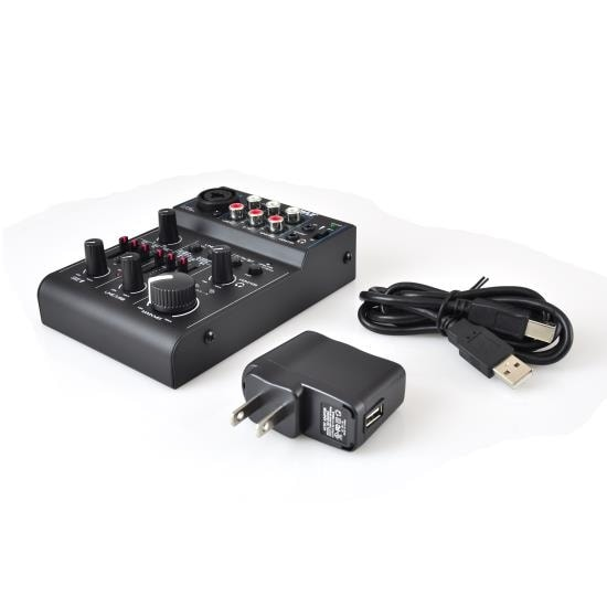 Bluetooth 3-Channel Mixer DJ Controller Audio Interface, 18V Phantom Power Supply